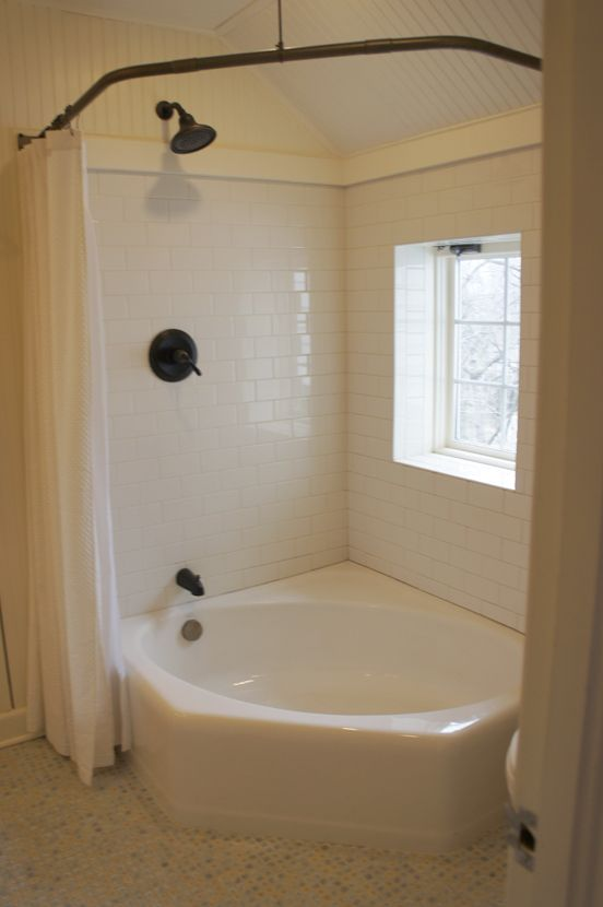 love the combo jetted tub and shower idea. Double curtains and