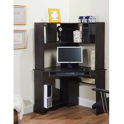 Morgan Corner Computer Desk and Hutch, Black Oak - Walmart.com