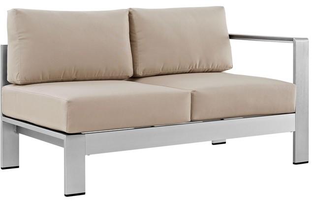 Modern Urban Outdoor Patio Right Arm Corner Loveseat Sofa, Beige