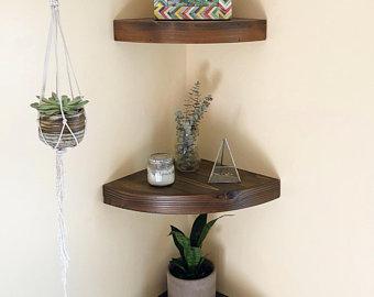 Rustic corner shelf | Etsy