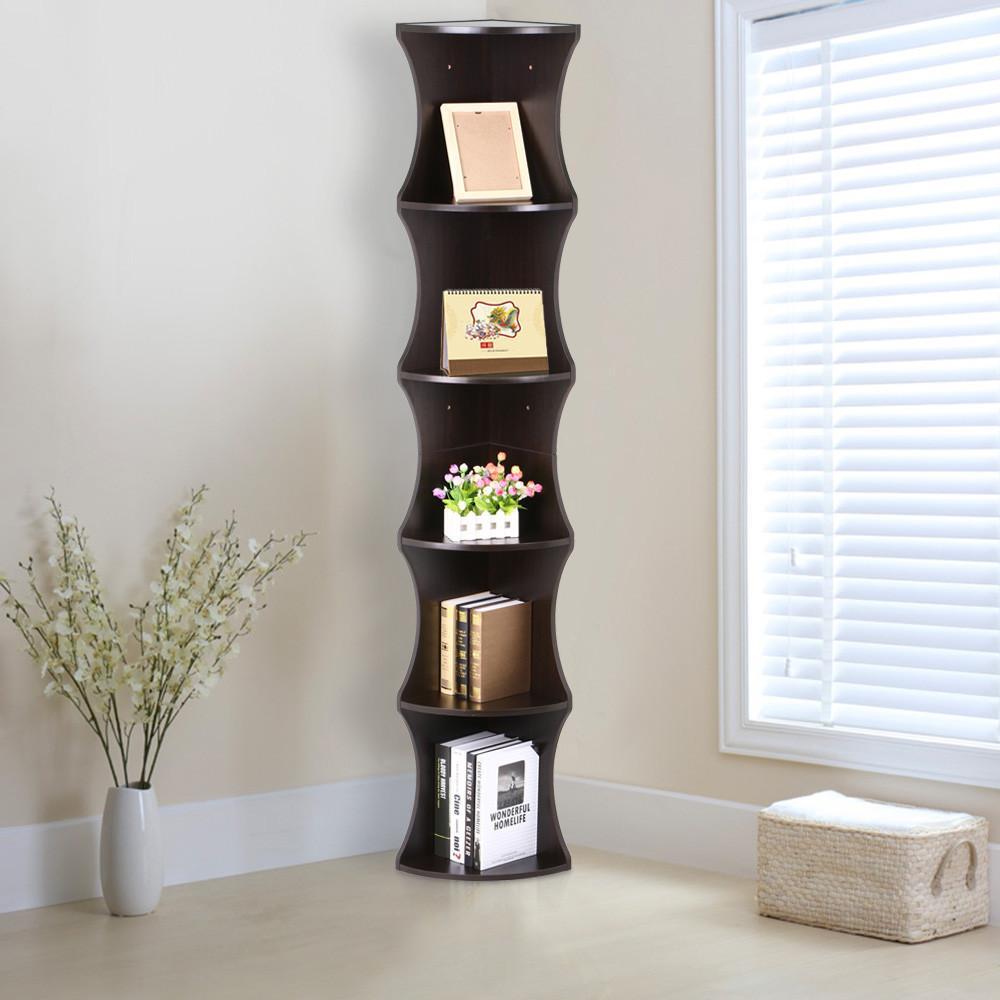 Yaheetech 5 Tier Brown Round Wall Corner Shelf Stand Storage Skinny