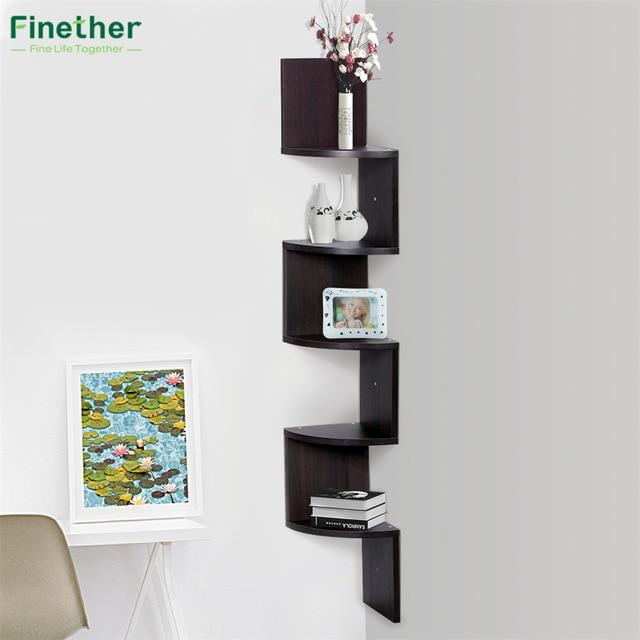 Finether 5 Tier Zig Zag Floating Wall Corner Shelf Unit Wall Mounted