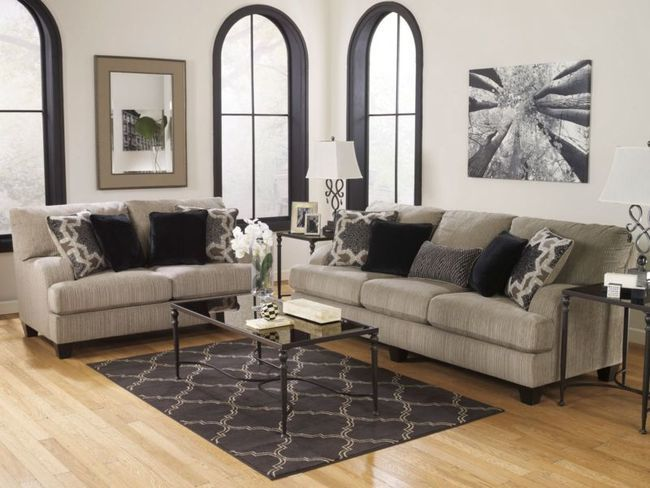 VISTA-CONTEMPORARY GRAY MICROFIBER SOFA COUCH LOVESEAT SET LIVING