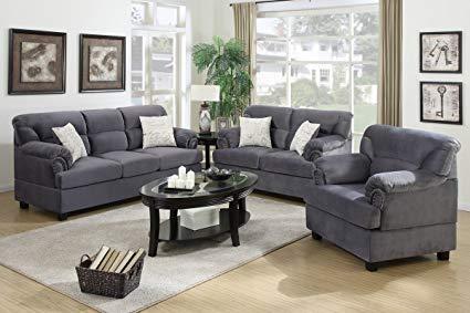 Amazon.com: 3Pcs Modern Grey Microfiber Sofa Loveseat Chair Set with