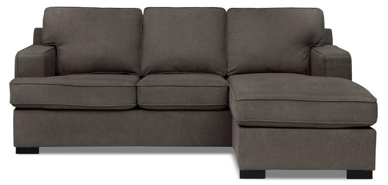 Milo 2-Piece Linen-Look Fabric Sofa Bed Sectional u2013 Gravel | The Brick