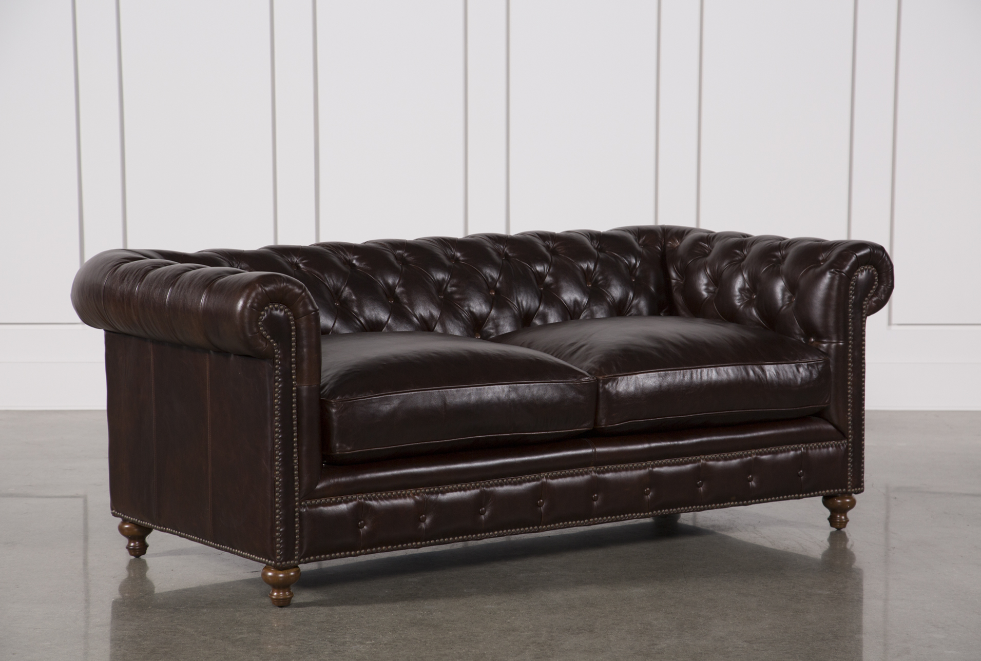 Mansfield 86 Inch Cocoa Leather Sofa   Living Spaces