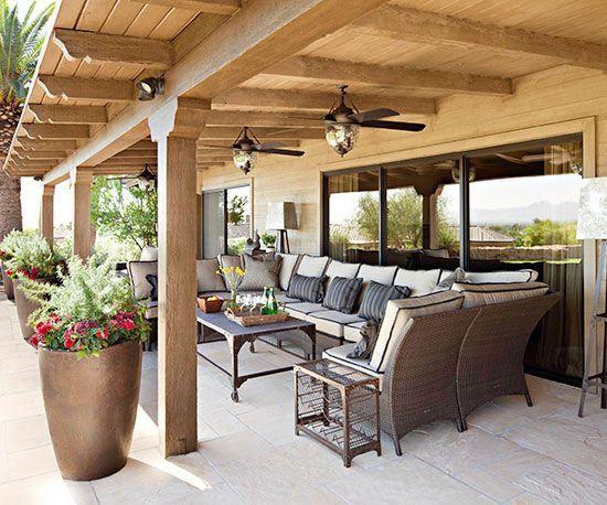 Pretty Covered Patios | Patio | Backyard patio, Backyard pergola