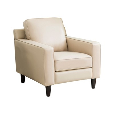 Olivia Top Grain Leather Armchair Cream - Abbyson Living : Target