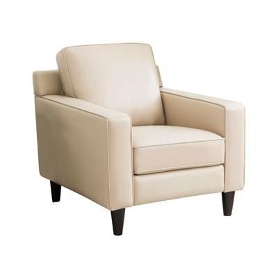 Olivia Top Grain Leather Armchair Cream - Abbyson Living : Target