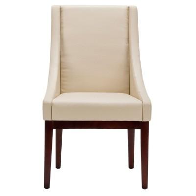 Leather Sloping Armchair Cream - Safavieh® : Target