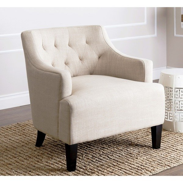 Shop Abbyson Davis Cream Fabric Armchair - Free Shipping Today