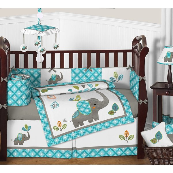 Sweet Jojo Designs Mod Elephant 9 Piece Crib Bedding Set & Reviews