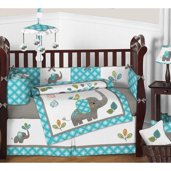 Sweet Jojo Designs Mod Elephant 9 Piece Crib Bedding Set & Reviews