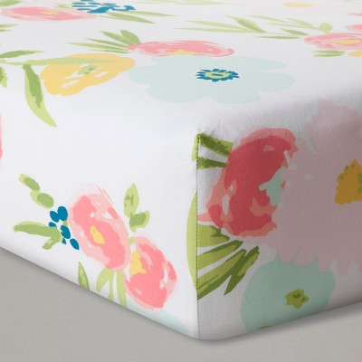 Fitted Crib Sheet Floral - Cloud Island™ Pink : Target
