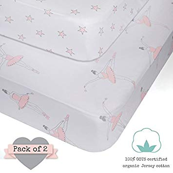 Amazon.com : Crib Sheets - 100% ORGANIC JERSEY COTTON - Pink for