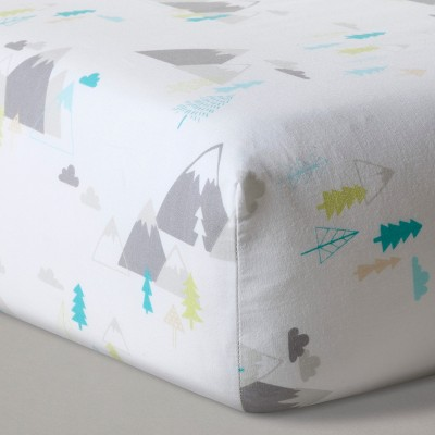 Fitted Crib Sheet Mountains - Cloud Island™ White : Target