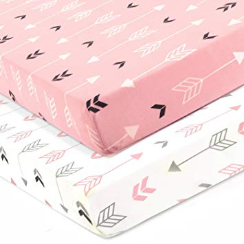 Amazon.com : Stretchy Fitted Crib Sheets Set-Brolex 2 Pack Portable