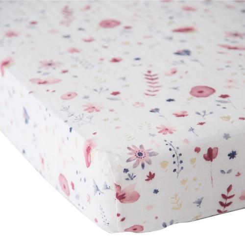 Muslin Fitted Crib Sheet, Fairy Garden - Spearmint Ventures, LLC