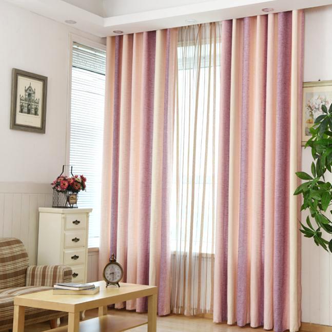 Pink Striped Jacquard Linen/Cotton Blend Modern Curtains for