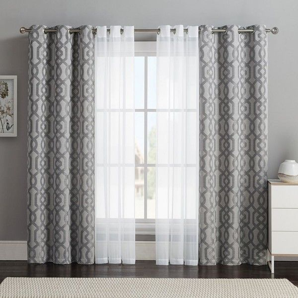 Vcny 4-pack Barcelona Double-Layer Curtain Set, Gray ($32) ❤ liked