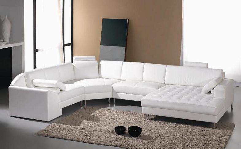 Adjustable Advanced Tufted Curved Sectional Sofa in Half Leather