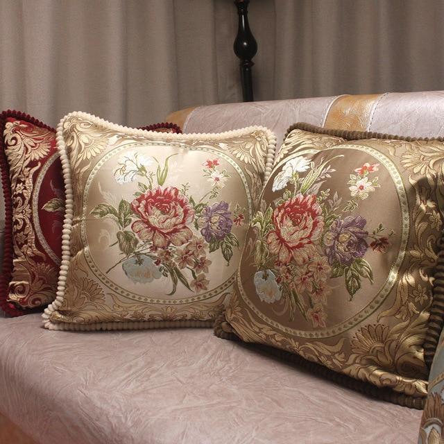 CURCYA European Style Jacquard Elegant Floral Decorative Cushion