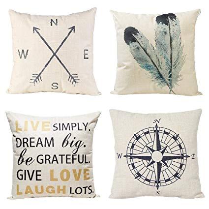 Amazon.com: Anickal Decorative Throw Pillow Covers Set of 4 Cotton