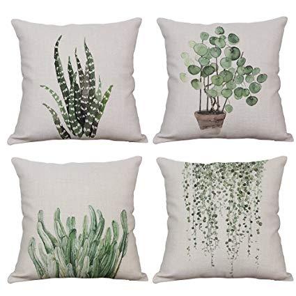 Amazon.com: YeeJu Set of 4 Green Plant Throw Pillow Covers