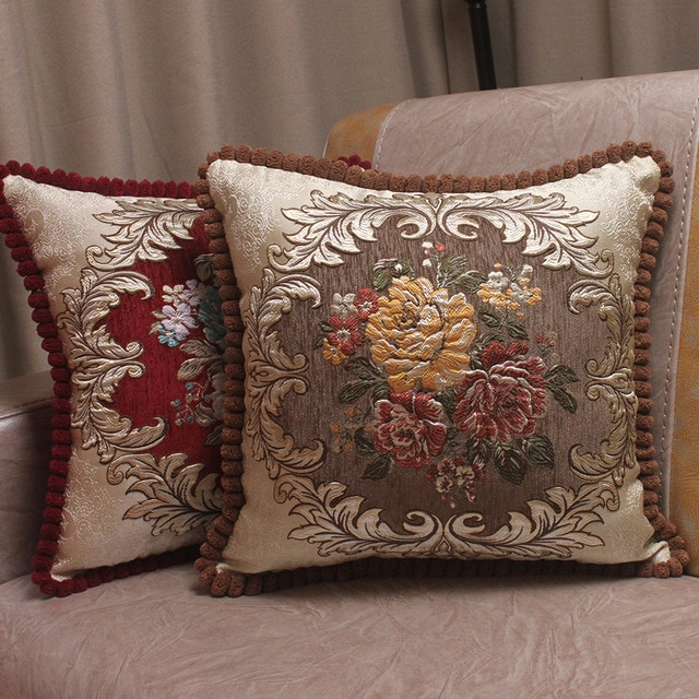 CURCYA Chenille Fabric Jacquard Embroidered Cushion Covers Royal