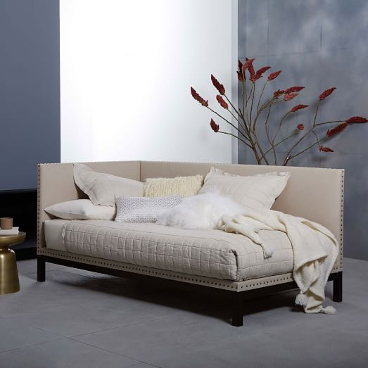 Nailhead Trim Daybed - Natural (Linen Weave)   west elm