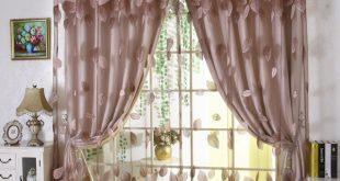 Luxury modern leaves designer curtain tulle window sheer curtain set