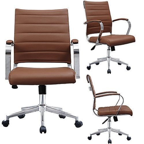 Shop 2xhome - Brown Designer Office Chairs Mid Back Ribbed PU