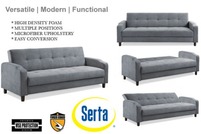 Grey Convertible Futon Sofa Bed Sleeper | Reno Modern Futon Couch