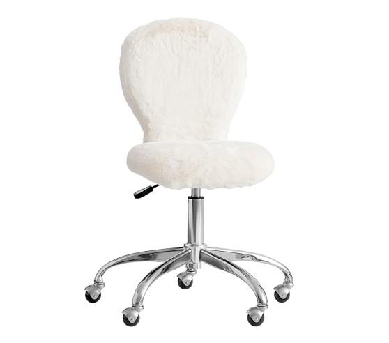 Round Upholstered Desk Chair, Brushed Nickel Base   Pottery Barn Kids