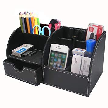 BTSKY Office Multi-functional Pu Leather Desk Organiser Tidy