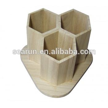 Custom 3 Slot Wood Desk Tidy Plain Wooden Hexagonal Pencil Pen