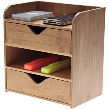 4 Tier Desk Organiser Stationery Box, Desk Tidy, Made of Natural