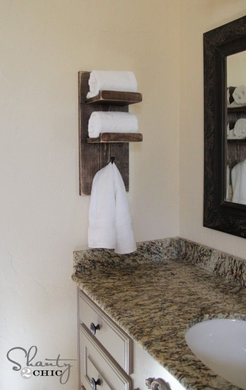 Bathroom Towel Hook DIY. Really like bc if /when we have long-term