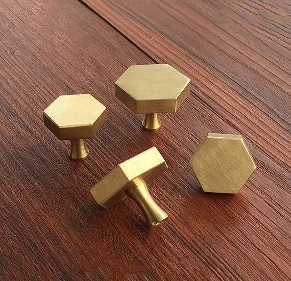 Brass Hexagon Knobs Cabinet Knob Handle Dresser Knobs Drawer Pulls