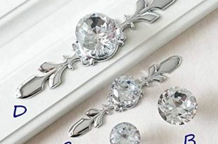 Drawer Knobs Handles Glass Dresser Knob Crystal Silver Chrome Clear