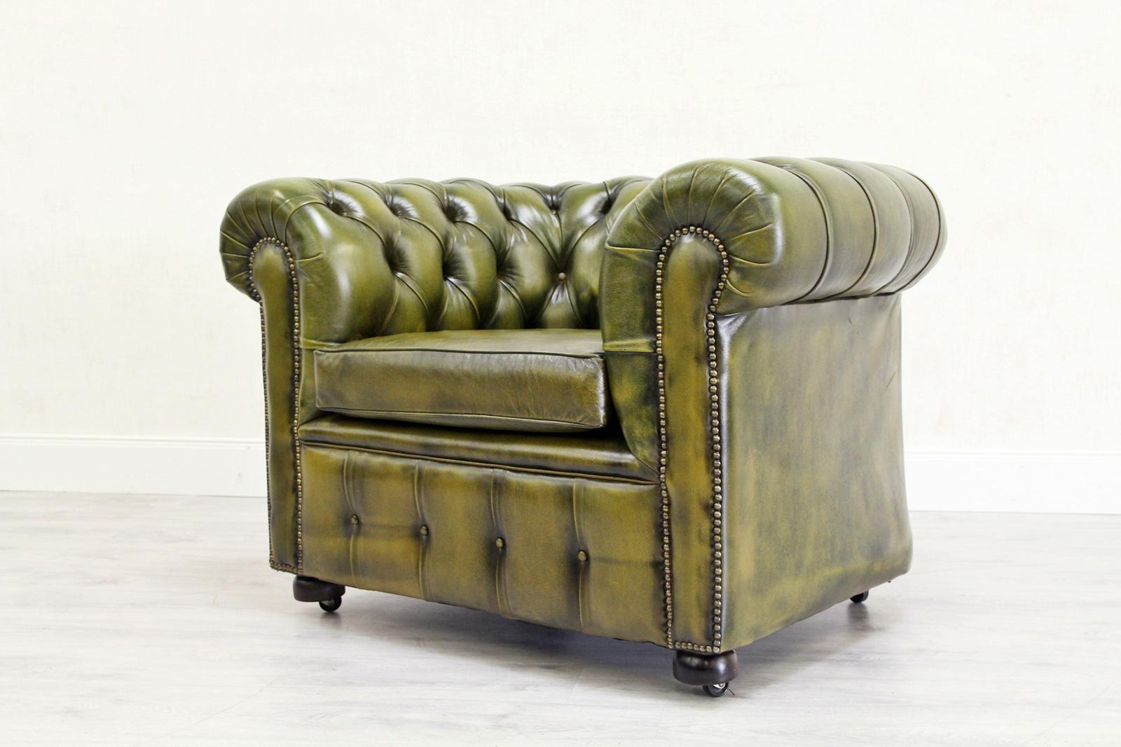 Two Chesterfield Club Armchair Leather English Armchair Baroque