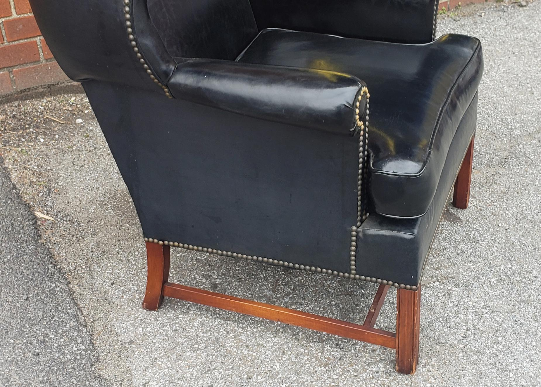 Vintage Hickory Chair Co. Black Vinyl Upholstered English Style