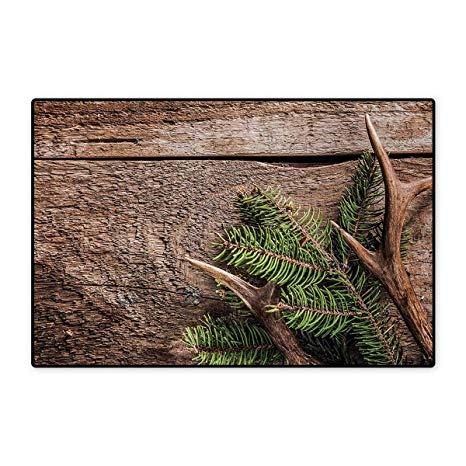 Amazon.com: Antlers,Bath Mat,Evergreen Branch with Deer Antler