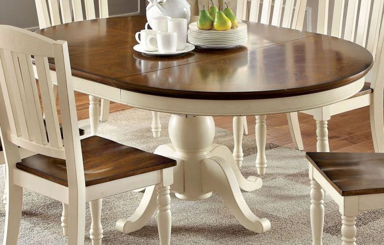 Furniture of America Harrisburg Vintage White and Dark Oak Oval