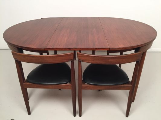Extendable Dining Table & 4 Chairs by Hans Olsen & Frem Rojle for
