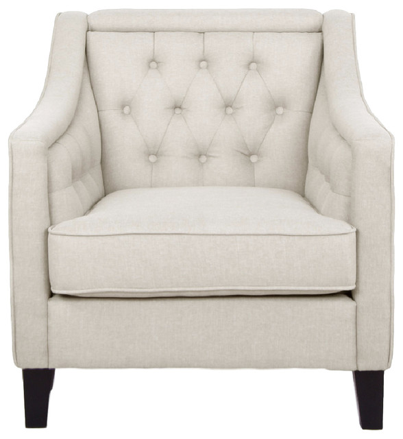 Vienna Classic Retro Beige Fabric Upholstered Button-Tufted Armchair