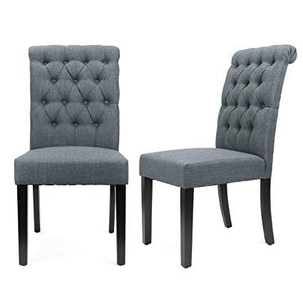 Amazon.com: XtremepowerUS Padded Fabric Dining Chair, Set of 2 (Gray