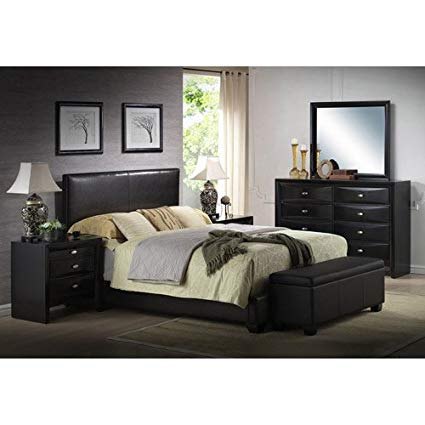 Amazon.com: Queen Faux Leather Bed, Black, Headboard, footboard