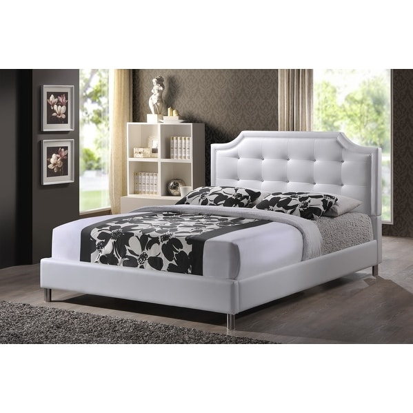 Shop Carlotta White Faux Leather Platform Bed w/Upholstered
