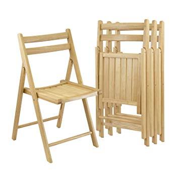 Amazon.com: Winsome Wood Folding Chairs, Natural Finish, Set of 4